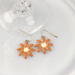Vintage Orange Flower Dangle Earrings, Boho Hippie